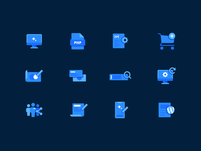 Design and Development Icons abstract vector flat illustration design tech modern icon design icon set icons simple