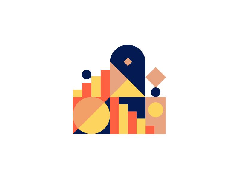 Doorframe abstract geometric flat sweet simple modern design illustration