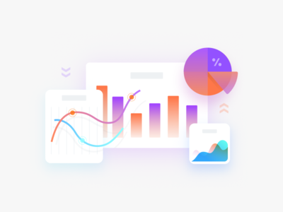 Charts app web invest crypto abstract clean simple gradient modern design illustration