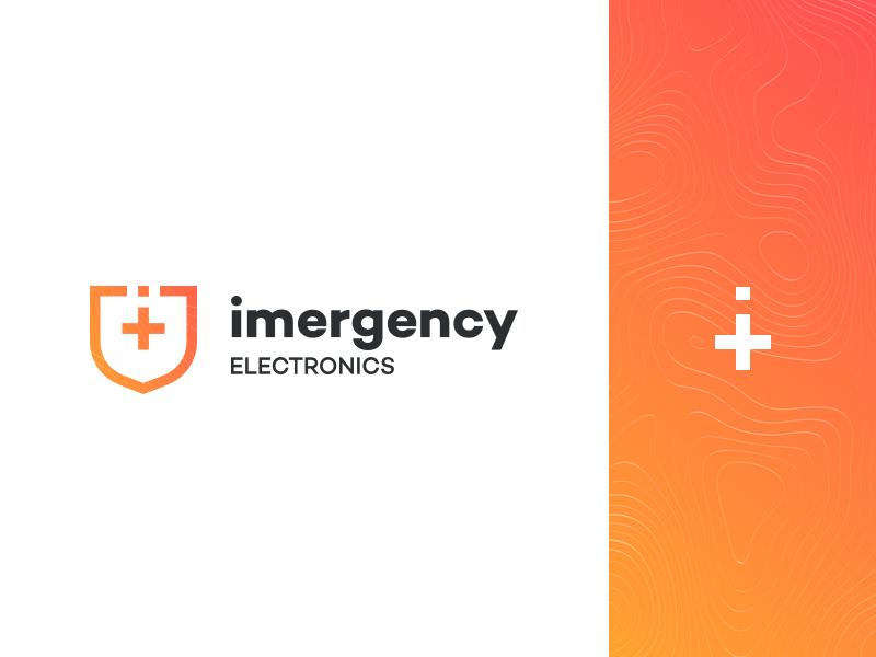 Imergency Logo phone flat gradient web identity mark icon modern logos branding design logo