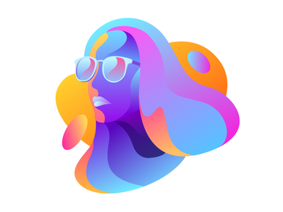 Summer Girl sun app web flat simple abstract bright color summer girl illustration