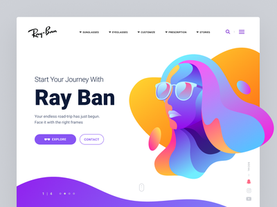 Ray Ban Landing Page sunny glasses ban ray summer vibrant colors page landing website girl illustration