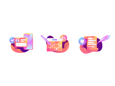 Illustration Icons warm icons web cool abstract simple flat modern design illustration