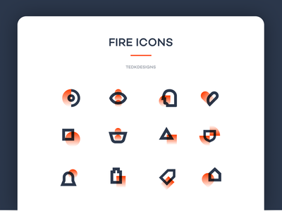 Fire Icon Set mobile website logo abstract simple modern design flat illustration icons