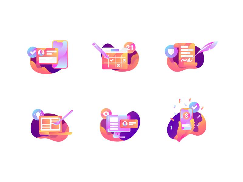 Illustration Icon Set mobile website logo abstract simple modern design flat illustration icons