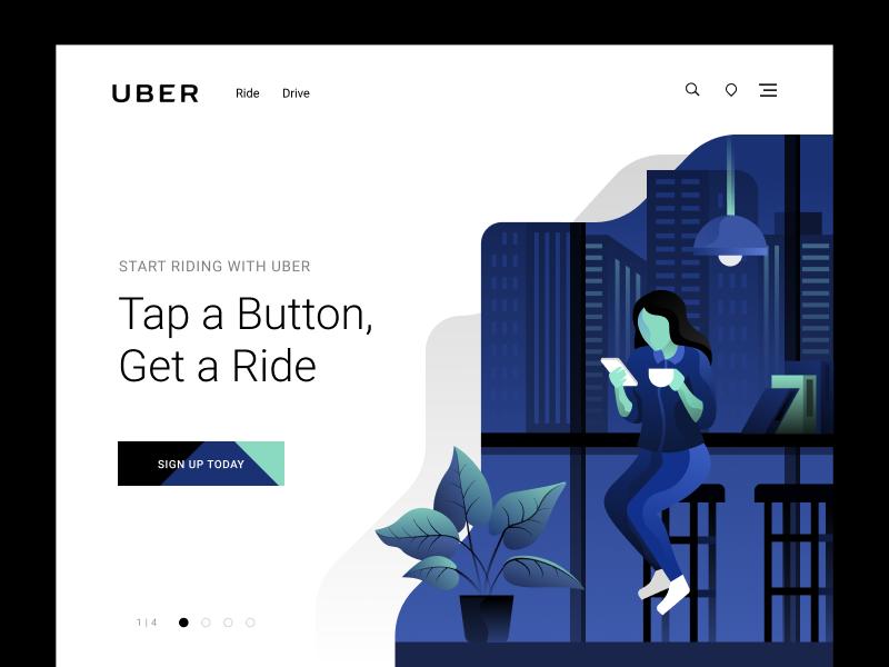 Uber Landing Concept web header location drive car uber flat simple modern design illustration