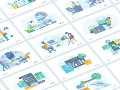 Illustration Project charts forms workflow mobile web logo people office illustration
