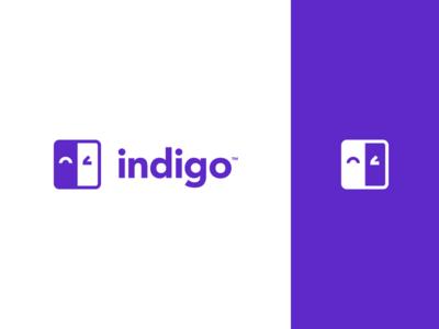 Indigo Logo purple mattress happy wink flat simple modern illustration logo