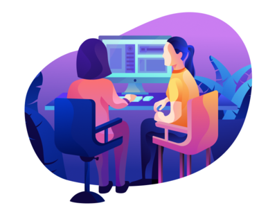 Working Together help office desk computer working girl people illustration