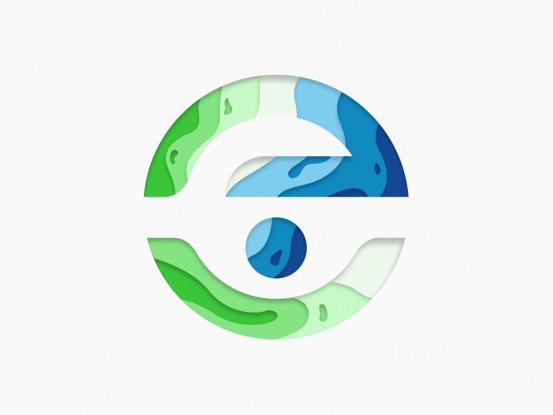 E Logo logomark abstract cool shadow paper modern design identity mark logo