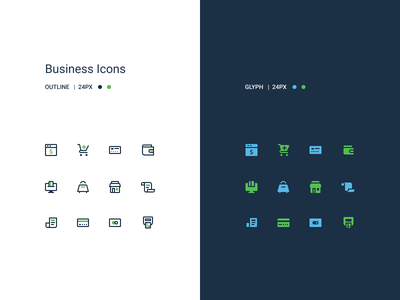 Business Icon Set mobile web ui set icons outline glyph logo business icon