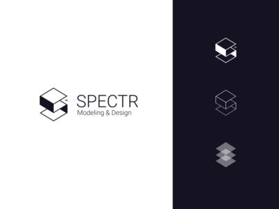 Specter Design mark icon design web modeling 3d sharp cool clean modern logo