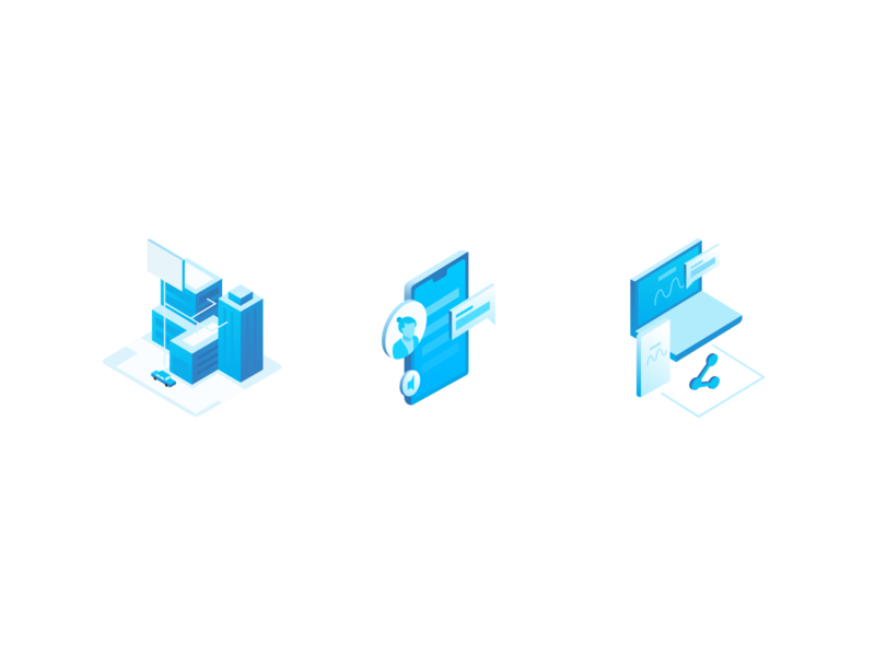 Isometric Illustrations vector clean website icon abstract web illustration design simple modern
