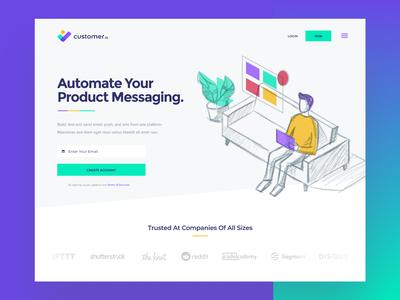 Customer.io website web illustration simple design modern