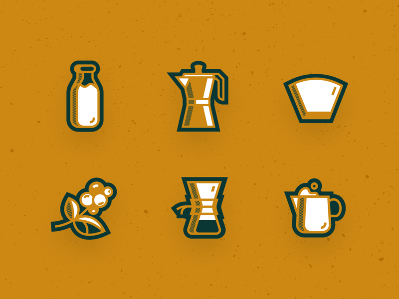 Coffee Stickers icon illustration simple design modern