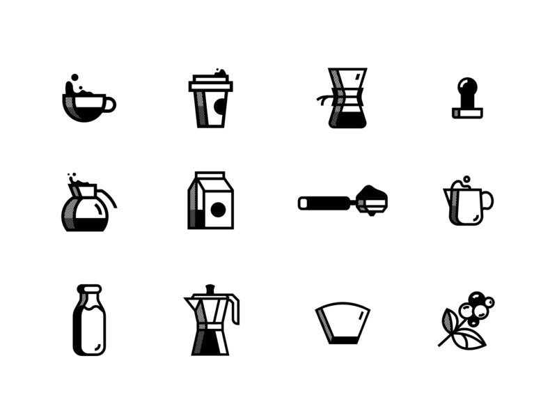 Woke Icon Set store shop brew coffee branding vector icon flat illustration simple modern
