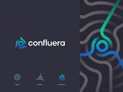 Confluera Logo security abstract vector simple tech modern branding logo