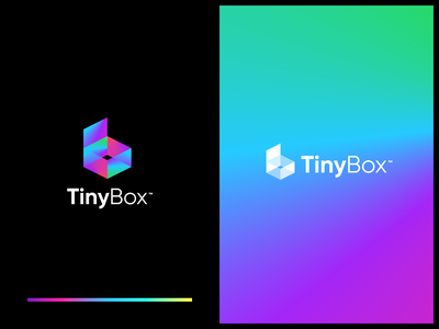 TinyBox Logo typography vector branding icon web flat abstract gradients simple modern box gradient logo