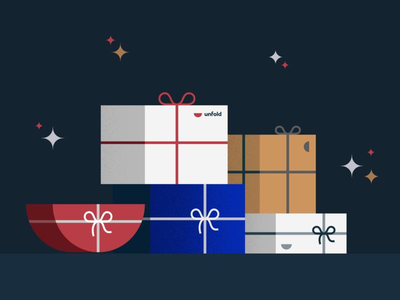 Merry Christmas gifts illustration holiday christmas card christmas