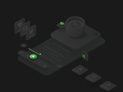 Morning Productivity isometric design simple web abstract illustration music player productivity coffee morning spotify music playlist