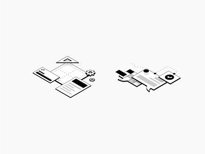 Isometric Illustrations simple isometric website web flat abstract illustration design modern architecture