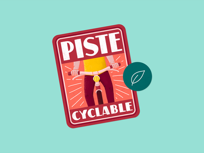 Piste Cyclable sticker illustration font typography label badge bike bicycle