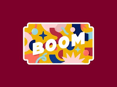 Explosion colors font typography pattern illustration boom label sticker badge