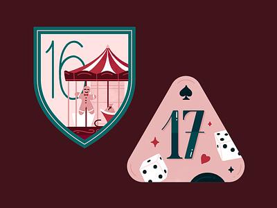 Advent Calendar - Day 16 & 17 typography advent christmas dice carousel badge illustration