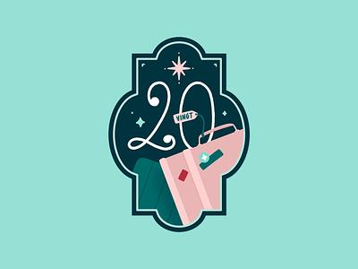Advent Calendar - Day 20 luggage suitcase illustration badge typography travel