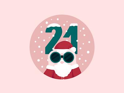 Advent Calendar - Day 21 winter noel santaclaus typography illustration christmas snow advent calendar
