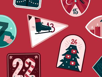 Advent Calendar - Badges love advent calendar badge design advent christmas lettering illustration badge