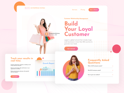 ELYS - Customer Relationship Management contact with customers customer relationship management website application branding b landing page loyalty system crm ui