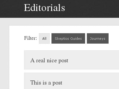 Editorials Filter wordpress jquery minmal grey white