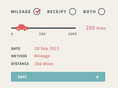 Add Expense Modals range flat button checkbox tick mileage car