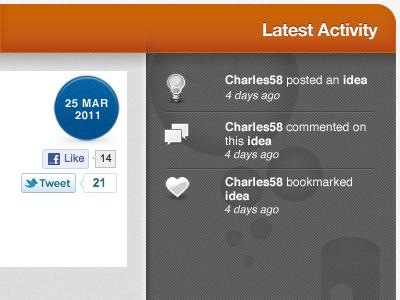 Activity Feed activity feed icons texture bubbles