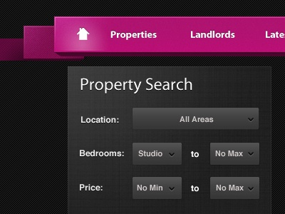 Pink Nav & Property Search pink property real estate search interface ui texture
