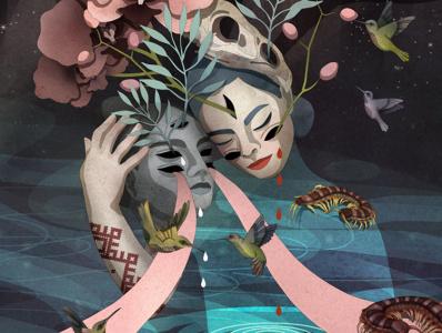 El viento muere en mi herida IV digital art nature drawing ale de la torre flower girl digital digital illustrator illustration digital artist artwork art digital arts digitalart