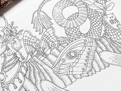 Disonancia I black and white indian ink contemporary illustration art alebrije mermaid sketch drawing ale de la torre ink illustration
