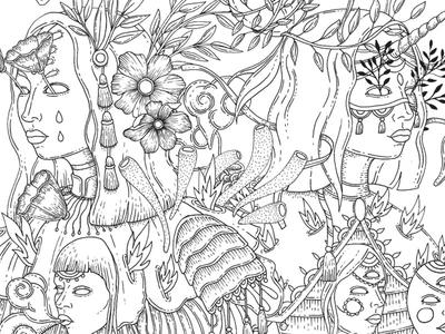 Otherness (WIP detail) poster art poster illustration poster design poster wip in progress illustration nature illustration microns black ink otherness drawing illustration
