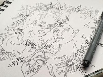 Ibeyi (wip) work in progress black and white black ink sketch sketchbook ibex drawing illustration ink