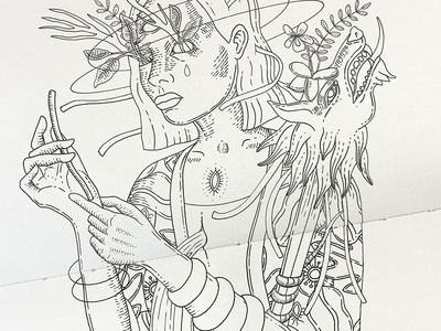 WIP: My pen is an artery, my heart is a fountain heart girl wip ink illustration music artwork music art sketchbook sketch drawing illustration black ink ink