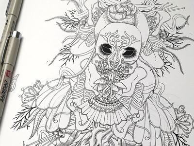 Bjork's Utopia WIP (ink) music artwork cover art bjork sketch ink on paper wip drawing illustration ink