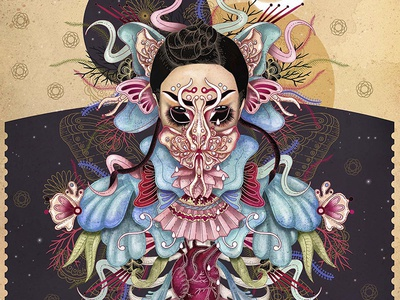 Björk's Utopia mixed media digital art digital indian ink watercolor drawing ink prints artprint artwork illustration bjork
