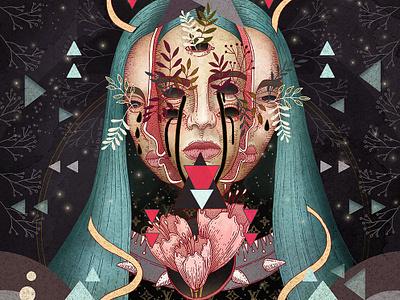 Billie Eilish mixed media ink artwork billie eilish art music album cover digital art music art fan art art poster illustration bille eilish