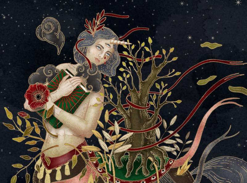Unicorn witch: the book of healing plants (detail) nature ale de la torre drawing ink illustration art artwork art mixedmedia digitalart unicorn witch illustration