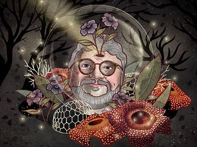 Guillermo del Toro illustration art stars nature ale de la torre mixed media digital art fantasyart artwork drawing digitalart illustration fanart guillermodeltoro