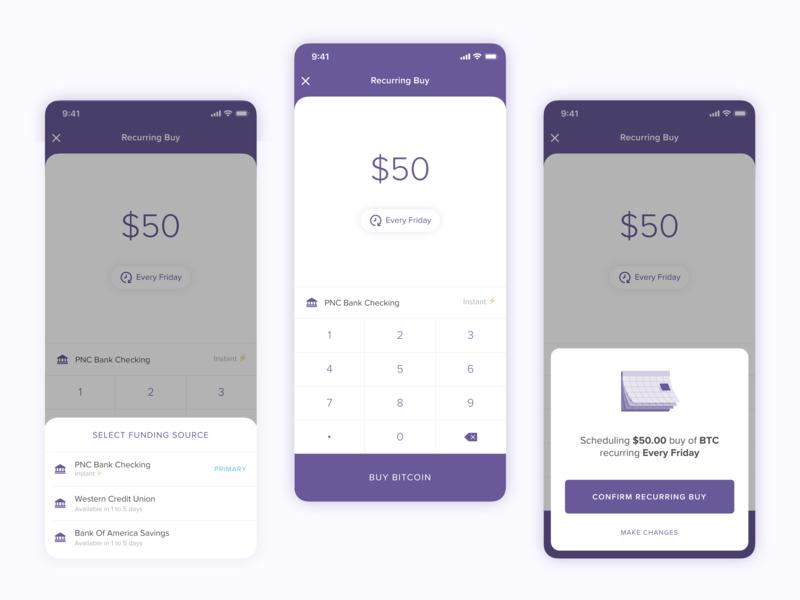 Recurring Bitcoin Buy card mobile invest bottom sheet crypto bitcoin