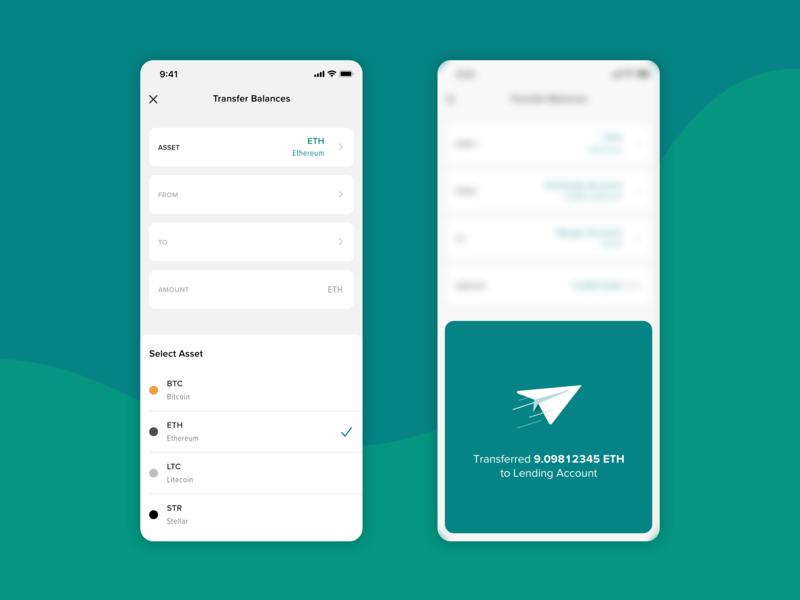 Transfer Balances form teal bitcoin mobile bottom sheet card crypto