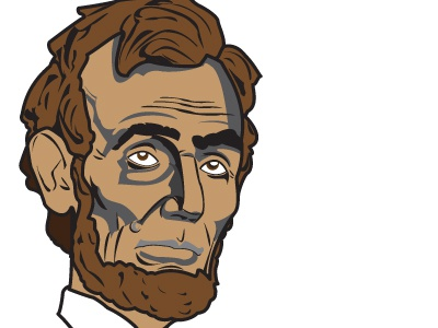 Abe lincoln abe vector illustration illustrator print color line quality beard hair eyes mouth brown shadows