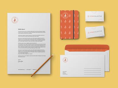 Non-profit Brand Identity envelope business card circles identity letterhead flame yellow orange fire brand identity branding brand nonprofit